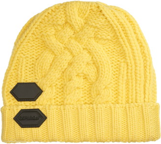 Off-White Rubber Patch Cable Knit Wool Beanie