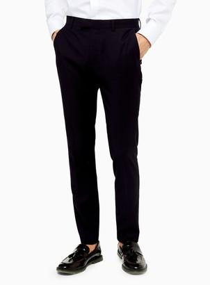 Topman Burgundy Super Skinny Suit Trousers