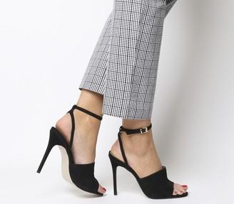 Office Houston High Vamp Ankle Strap Stiletto Heels Black Nubuck