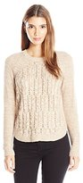 Leo & Nicole Women's Petite Long Sleeve Cable Front Crew Pull Over Sweater