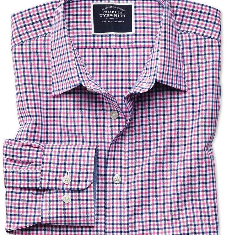 Charles Tyrwhitt Slim fit non-iron pink and navy gingham Oxford shirt