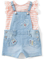 Jessica Simpson Baby Girls 12-24 Months Patched Denim Shortall & Striped Knit Tee Set
