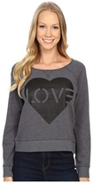 Life is Good Love Stencil Marled Terry Crew Pullover