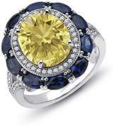 Lafonn Red Carpet Sterling Silver Platinum Plated Lassire Canary, Sapphire Ring (7.6 CTTW)