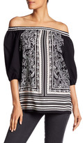 Max Studio Paisley Off-the-Shoulder Shirt