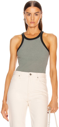 John Elliott Silk Rib Tank Top in Moss | FWRD