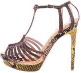 Fendi Embossed Platform T-Strap Sandals
