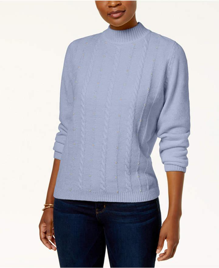Alfred Dunner Petite Embellished Chenille Mock-Neck Sweater