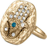 Rachel Roy Gold-Tone Crystal Hamsa Statement Ring