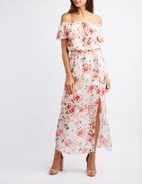 Charlotte Russe Floral Off-The-Shoulder Maxi Dress