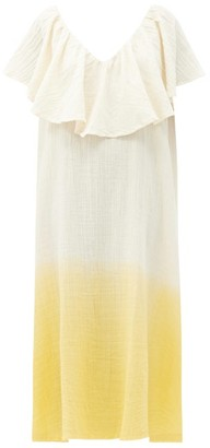 Anaak Brigitte Ruffled V-neck Dip-dyed Cotton Dress - Yellow Multi