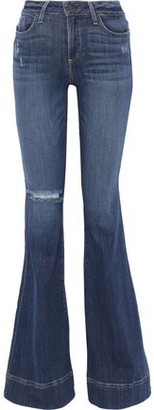 Alice + Olivia Beautiful Distressed Low-rise Flared Jeans