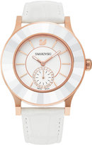 Swarovski Women's Swiss Octea White Calfskin Leather Strap Watch 39mm
