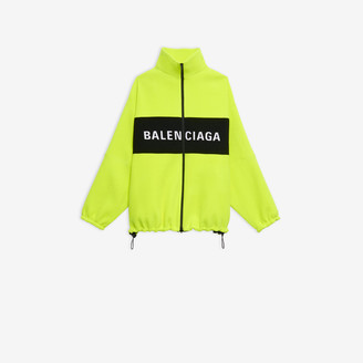 Balenciaga Logo Zip-up Jacket in neon yellow herringbone wool