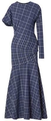 Calvin Klein Asymmetric Prince Of Wales Checked Cady Maxi Dress