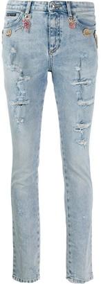 Philipp Plein Rhinestone Charm Distressed Skinny Jeans
