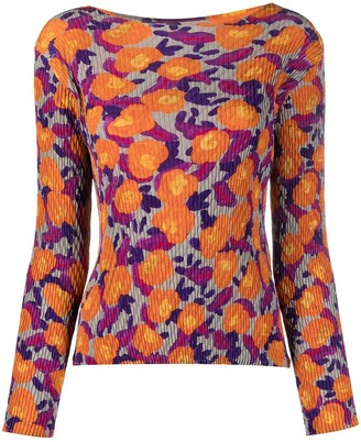 Issey Miyake Floral-Print Crinkle-Effect Top