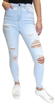 Almost Famous Juniors' Distressed High-Rise Skinny Jeans