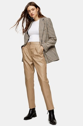 Topshop Beige Faux Leather Pants