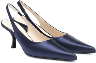 The Row Bourgeoise satin slingback pumps
