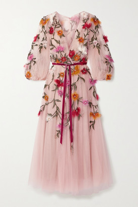 Marchesa Organza-appliqued Velvet-trimmed Tulle Midi Dress - Blush