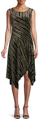 Calvin Klein Metallic Stripe Handkerchief-Hem Dress