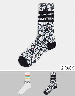 adidas x Fiorucci socks in black and white