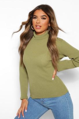 boohoo Petite Rib Knit Roll Neck Sweater