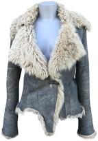 Plein Sud Jeans Blue Fur Leather Jacket for Women