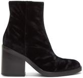 Ann Demeulemeester Black Velvet Heeled Boots