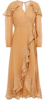 SUNDRESS Ruffled Embellished Cotton-gauze Midi Wrap Dress