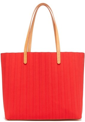Mansur Gavriel Pleated Waxed Canvas Tote Bag - Womens - Red