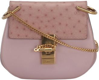 Chloé Pink Ostrich Leather Drew Crossbody Bag