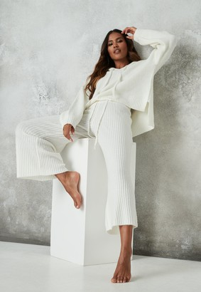 Missguided Premium White Co Ord Knitted Culotte Trousers