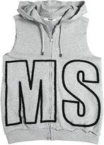 MSGM Logo Patch Hooded Cotton Sweatshirt Vest