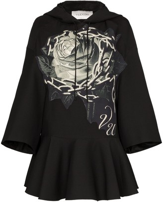 Valentino Rose Chain Print Hooded Dress