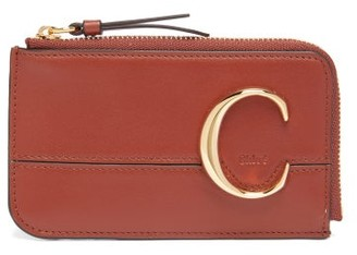 Chloé The C Logo Leather Card And Coin Purse - Womens - Dark Brown
