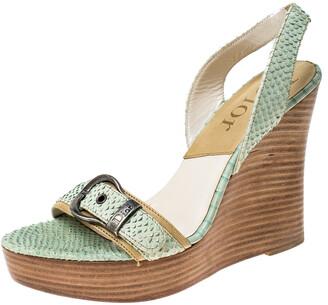 Christian Dior Green Python Embossed Leather Slingback Wedge Platform Slingback Sandals Size 38
