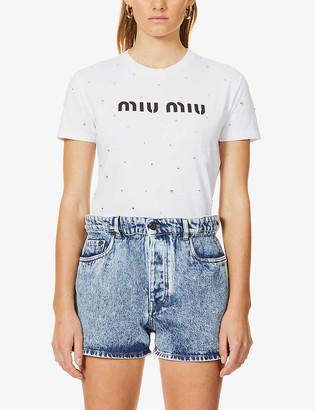 Miu Miu Diamante logo-print cotton-jersey T-shirt