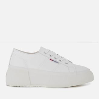 Superga Women's 2287 Leanappaw Leather Flatform Trainers - White