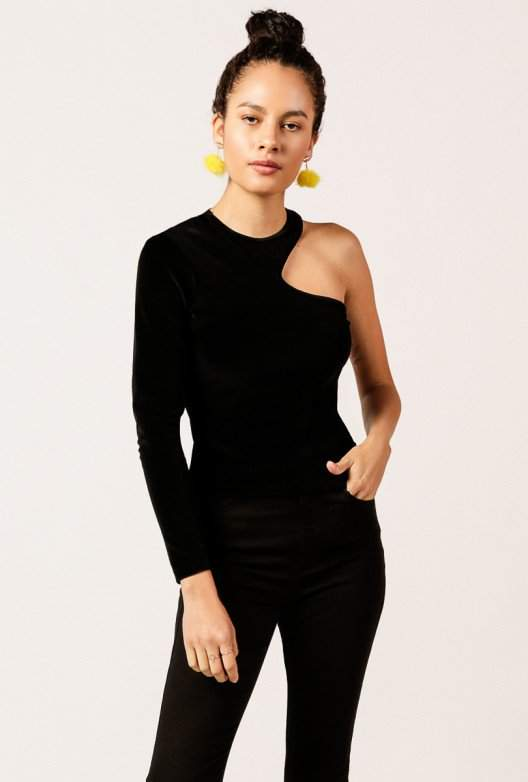 Alexander Wang Solid Velour Asymmetric Top
