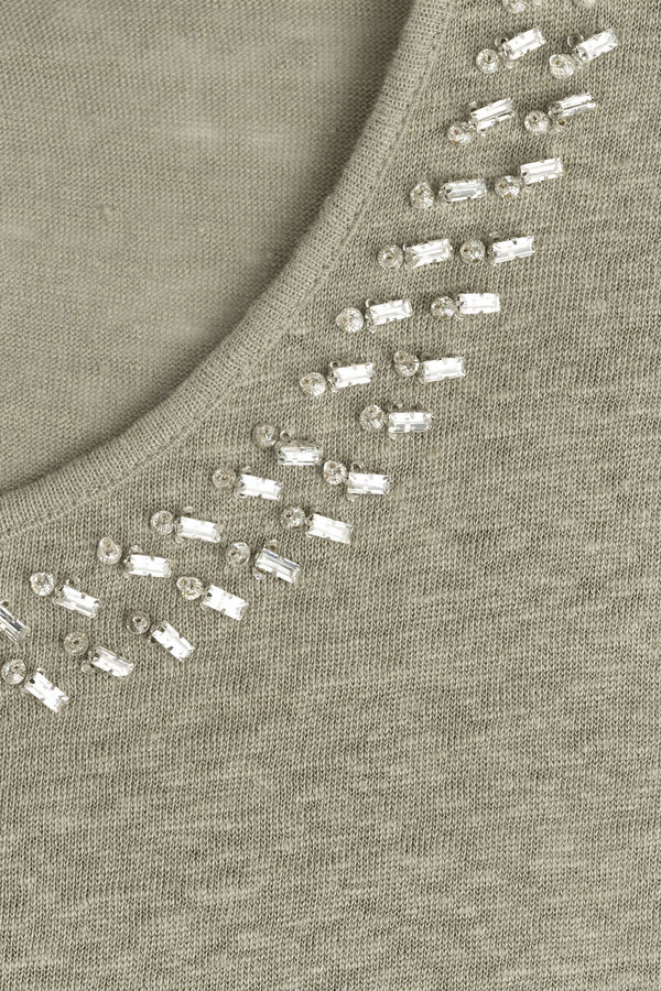 Steffen Schraut Embellished Linen Top
