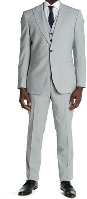 Reiss Relief Single Button Peak Lapel 3-Piece Suit