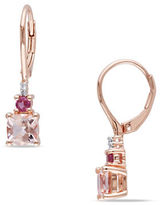 Concerto 0.02 TCW Diamond, Morganite and Pink Tourmaline Sterling Silver Earrings