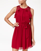 Amy Byer Juniors' Ruffled Lace-Inset Self-Tie Dress