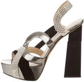Aperlaï Metallic Leather Platform Sandals