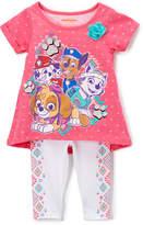 Children's Apparel Network PAW Patrol Pink Top & White Geometric Leggings - Toddler