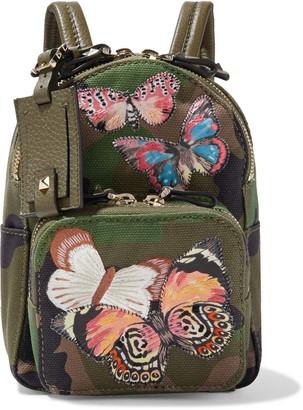 Valentino Embellished Printed Canvas Backpack