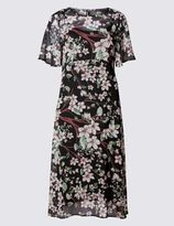 Marks and Spencer Oriental Floral Print Fit & Flare Dress