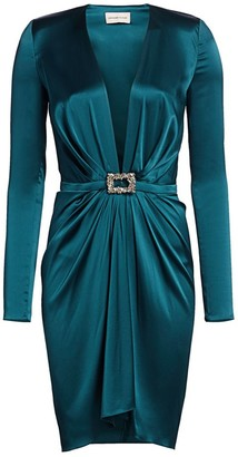 Alexandre Vauthier Stretch Satin Belted Cocktail Dress